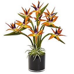 Nearly Natural Bird of Paradise Silk Arrangement in Cylinder