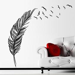 BIBITIME Birds Flying Feather Large Wall Stickers Vinyl Art