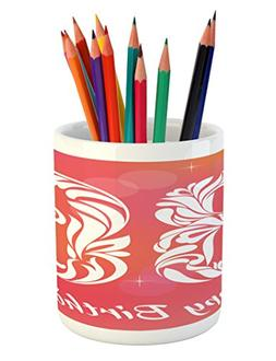 Ambesonne 36th Birthday Pencil Pen Holder, Ombre Vivid Color