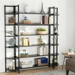 Black Bookcase for Home Office Display Decor Solid and Stabl