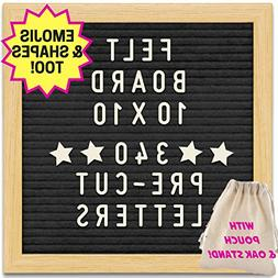 Black Felt Letter Board with 10X10 Wooden Frame and Stand. I
