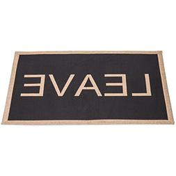 MyGift Humor Black Polyester Leave Non-Slip Entryway Doormat