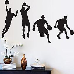 BIBITIME Black Vinyl DIY Slam Dunk Basketball Players Wall S