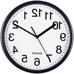 Bernhard Products Large Black Wall Clock, Silent Non Ticking