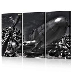 Kreative Arts Large 3 Piece Black and White Canvas Wall Art