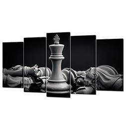 Kreative Arts Black and White King and Knight of Chess Setup