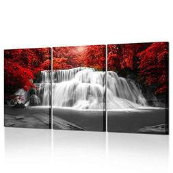 Kreative Arts Black White and Red Canvas Wall Art 3 Pieces R