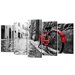 Kreative Arts - 5pcs Black and White with Red Bicyle in Lond