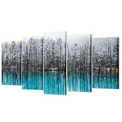 Kreative Arts - 5pcs Blue Forest Canvas Wall Art Paintings W