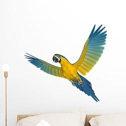 Wallmonkeys Blue and Gold Macaw Flying Wall Decal Peel and S