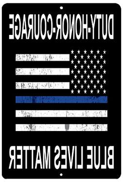 Blue Lives Matter Flag Metal Tin Sign Wall Decor Man Cave Ba