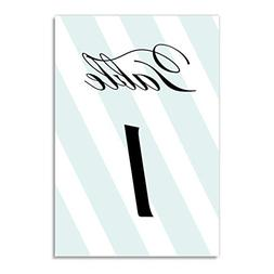 Blue Mint Stripe Table Numbers 25 Pack Reserved Seats Décor
