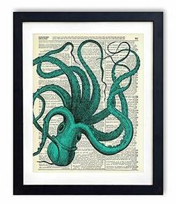 Blue Octopus Upcycled Vintage Dictionary Art Print 8x10.