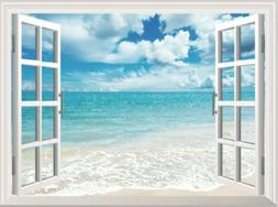 Blue Sky White Beach 3D Fake Window View Wall Stickers Home