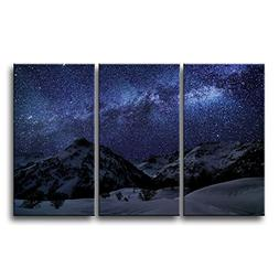 So Crazy Art 3 piece Blue Wall Art Painting Amazing Milky Wa