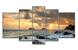 Blue 5 Piece Wall Art Painting Sunrise At Lanikai Point Hawa