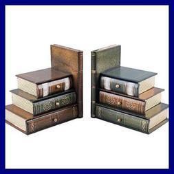Books Wood Bookend Swith Desktop Organizer Drawer Units Set