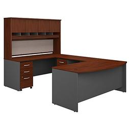 Bush Business Furniture 72W Bow Front U Shaped Desk with Hut
