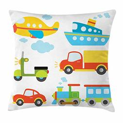 Ambesonne Boy's Throw Pillow Cushion Cover, Abstract Transpo