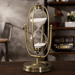12-inch Brass-Tone Metal Rotating Hourglass Sand Timer 60-Minutes