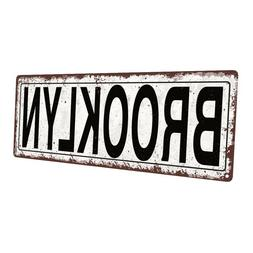 Brooklyn Metal Sign; Wall Decor for Home and Office