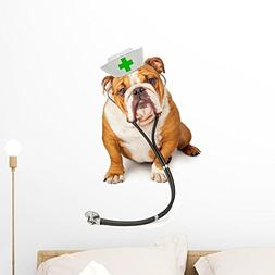 Wallmonkeys Bulldog Nurse with Stethoscope Wall Decal Peel a