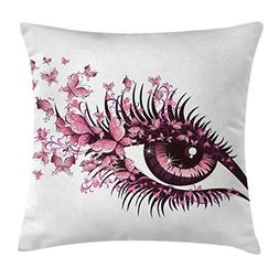 Ambesonne Butterflies Decoration Throw Pillow Cushion Cover,