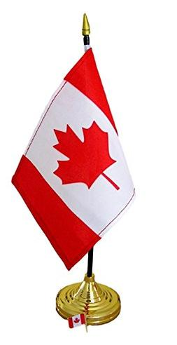 Canadian Flag 4x6 Inch with Base and Flag Lapel Pin Bundle
