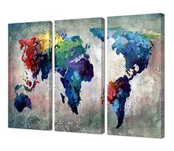 Ardemy Canvas Wall Art Painting Watercolor Old World Map Abs