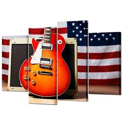 Kreative Arts - 4 Piece Canvas Print American Music Guitar w
