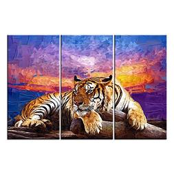 Canvas Print Wall Art Paintings For Home Decor Tiger On Wood