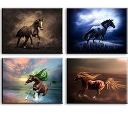 Horse Canvas Wall Art, 4 Piece Brown Running Horses Pictures