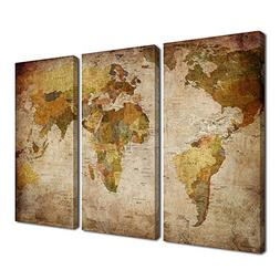 Ardemy Canvas Wall Art World Map 3 Panels Vintage Abstract P