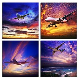 Kreative Arts - 4 Piece Canvas Prints Wall Art Jet Plane Lan