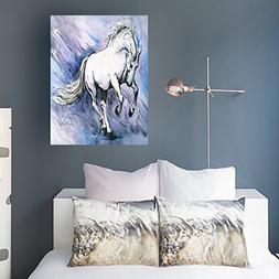 Canvas Prints Wall Art White Crazy Horse Watercolor Painted