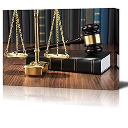 Canvas Prints Wall Art - Wooden Gavel on Book with Golden Sc