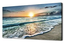 arteWOODS Canvas Art Wall Decor Sunset Beach Blue Waves Ocea