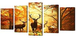 Ardemy Canvas Wall Art Painting Reindeer in Autumn Forest Ru