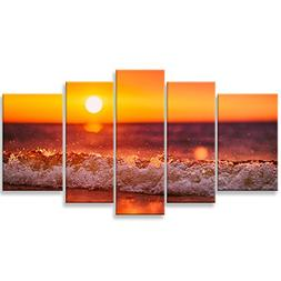 Canvas Wall Art Paintings Home Decor Sunset Sea Wave Water S