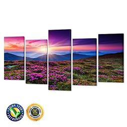 Kreative Arts - 5 Pieces Canvas Wall Art Pink Rhododendron F