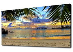 yearainn Large Canvas Wall Art Tropic Beach Sunset with Palm