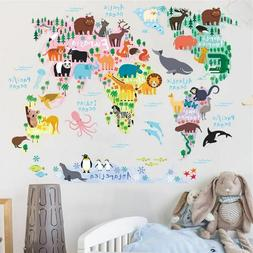 Cartoon Animals World Map Wall Stickers For Kids Rooms Offic