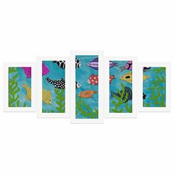 InterestPrint Cartoon Colorful Fishes for Kid Canvas Prints