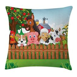 Ambesonne Cartoon Throw Pillow Cushion Cover, Collection of