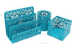EasyPAG Carved Hollow Flower Pattern 3 in 1 Desk Organizer E