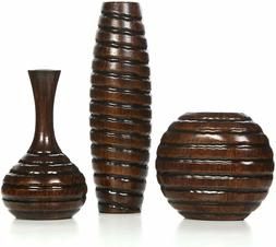 """Carved Wood Vases Home/Office Retro Decor Small 6"""" + 8"""" + 12"""