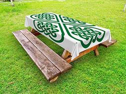 Ambesonne Celtic Outdoor Tablecloth, Monochrome Four Leaf Cl
