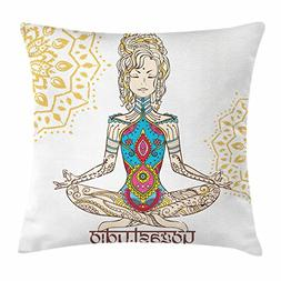 Ambesonne Chakra Decor Throw Pillow Cushion Cover, Girl in Y