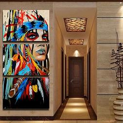 3 Piece Chief Western Artwork Black and White Canvas Beauty