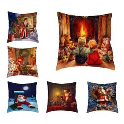 Christmas Gift Throw Cushion Cover Santa Claus Elk Sled Prin